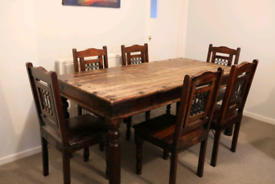 Jali Sheesham Wood 180cm Chunky Dining Table and 6 Dining Chairs