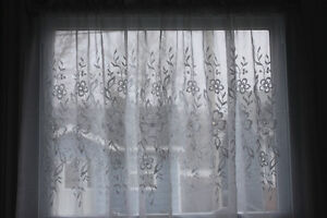 2 White Sheer Embroidered Curtains