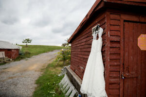 Wedding Dress - ivory, tea length, keyhole back, sweetheart neck