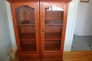 2 Solid Oak Cabinets PRICE REDUCED