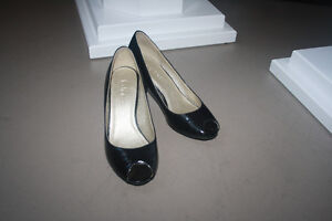 Black open-toe heels from Le Chateau