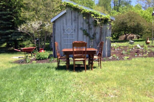 Large Antique Oak Table with four matching chairs