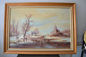 VINTAGE ORIGINAL OIL ON CANVAS LARGE PAINTING 42 X 31 inches