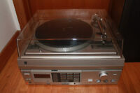 Stereo system and speakers, record player, radio.