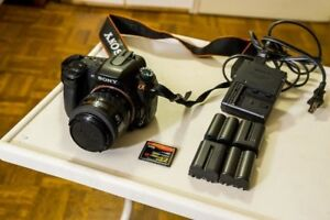 Sony DSLR A350 14.2MP w/ 4 batteries, charger and memory card