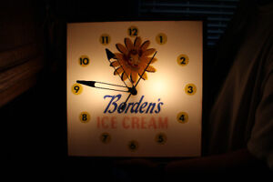 1950'S BORDEN'S ELSIE THE COW ICE CREAM LIGHTED CLOCK