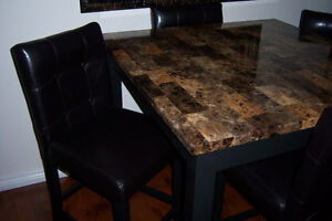 Bar Height Faux Marble Table with 4 High Back Chairs