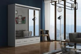 🚛7DAYS MONEY BACK GUARANTEE🙂 MARGO 2 or 3 DOORS SLIDING MIRROR WARDROBE IN MANY SIZES & COLORS🙂