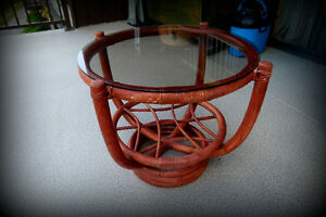 Rattan style small table for sale!