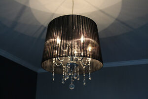 Chrome and black chandelier