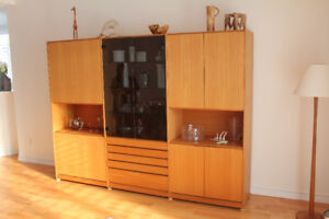 Teak China Cabinet with glass doors