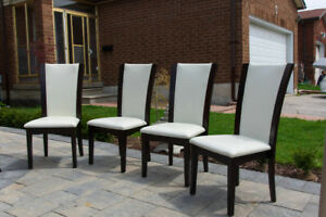 White Synthetic Leather Dining Chairs