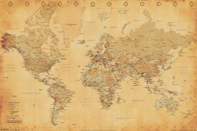 World Map Vintage Antique Style Longitude Latitude Earth Atlas Poster - 18x12