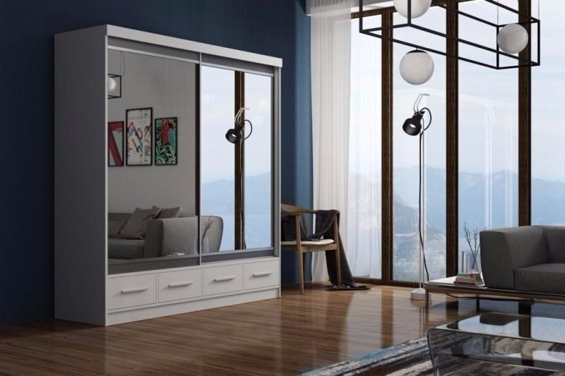 UPTO 50% OFF::: BRAND NEW - MARGO 2 DOOR SLIDING WARDROBE WITH FULL MIRROR -EXPRESS DELIVERY