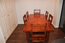 Solid wood 6 seater Dining table and chairs