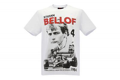 1984 Schwarzen T-shirt (Stefan Bellof T-Shirt Podium GP Monaco 1984 weiß / rot / schwarz)