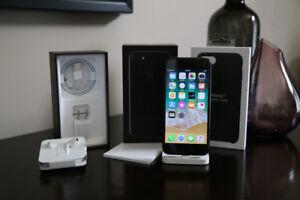 iPhone 7, Jet Black, 128GB, Unlocked + Apple Leather Case, Black