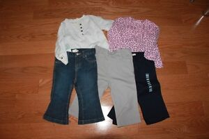 12Month Clothing - 2 tops and 3 pants