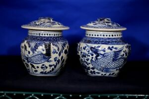 17th-18th C. Chinese Export Blue and White Lidded Porcelain Jars