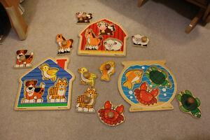 3 Adorable Wooden Puzzles by Melissa and Doug in great shape