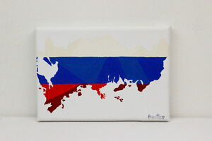 Russia Flag Map Original Painting