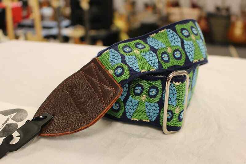 Souldier Guitar Strap Owls Navy w/ Brown Leather Ends *Free