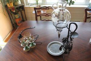 Vintage Austrian Wine Aerator/Dispenser with Crystal Glasses