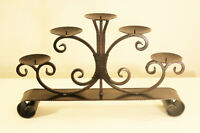 Large metal 5-candle holder