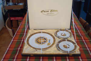 Superbe Limoges Bacchus cake plate with tag and 6 dessert plates