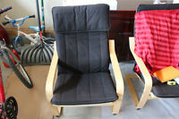 2 IKEA POANG CHAIRS WITH CUSHION
