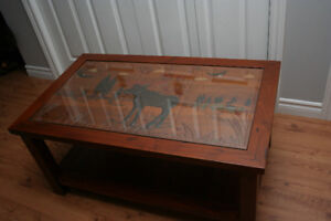 COFFEE TABLE - TEAK with MOOSE CARVING