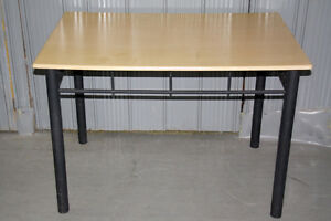Wood Finish Table with Metal Legs