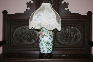 Early Japanese Hand Painted Lamp w/shade n Lg. vase