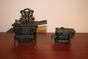 Vintage Crescent + Queen Cast Iron Mini Toy Wood Stoves