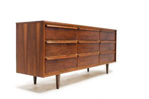 Mid Century Walnut Nine Drawer Dresser