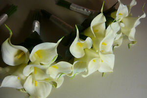 4 Small Bridesmaids Calla Lily Wedding Bouquet Of Flowers. London Ontario image 2