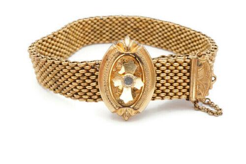 """Antique Victorian Gold Filled GF Mesh Slide Etruscan Cross Bracelet 8"""""""