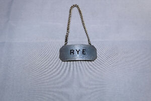VTG Roden Bros Canadian Sterling Silver Rye Whiskey Bottle Tag