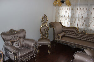 SOFA SET ANTIQUE STYLE BRAND NEW COFFEE COLOURED W/ COVERS