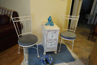 2 PARLOR CHAIRS/ANTIQUE CABINET+2 JUG- Basin Sets*SEE EACH PRICE