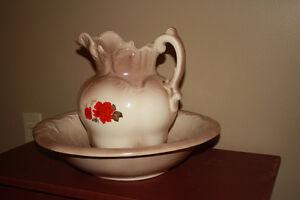 Vintage Ceramic-Glazed Washbowl & Pitcher Kingston Kingston Area image 2