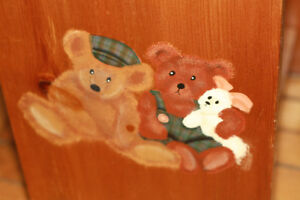 Pine bedside table with tole painted bears