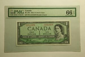 1954 Bank of Canada $1 Note. Devil's Face,PMG 66 EPQ. Gem UNC.