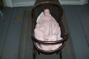 1800s PLASTER DOLL WITH PERIOD WICKER DOLL CARRIAGE London Ontario image 1