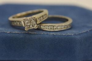 14K White Gold Wedding Ring + Engagement Ring Set (#17340)