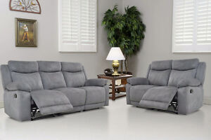 NEW!  Premium Brand Grey Fabric Reclining Sofa and Loveseat Set!
