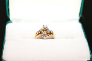 Brilliant engagement ring and matching wedding band (14kt.)