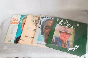 Quatre vinyles 33 tours de Félix Leclerc