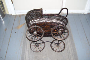1800s PLASTER DOLL WITH PERIOD WICKER DOLL CARRIAGE London Ontario image 3