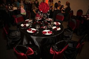 "Black Round 120"" Satin Table Linens for 8 ft Round Tables"